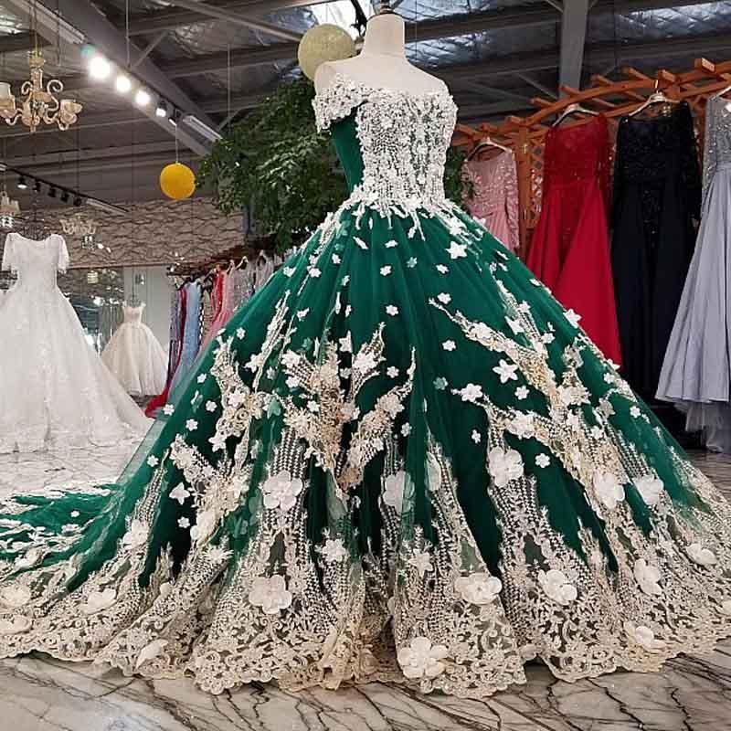 2020 Новый Лидирующий вечернее платье Банкет Luxury Green Lace Аппликация Бисероплетение партии бальное платье на заказ вечерние платья
