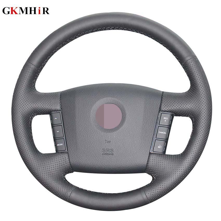 الأسود والجلود الاصطناعية مخيط اليد لتوجيه السيارات تغطية عجلة القيادة لكيا موهافي بوريغو 2008