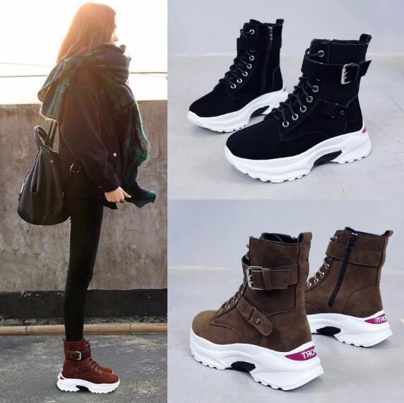 Booties Female 2019 Autumn And Winter New Korean Version With Thick Platform Women'S Boots Wild High Top Shoes Women Plus Velvet Boots For Girls Fur