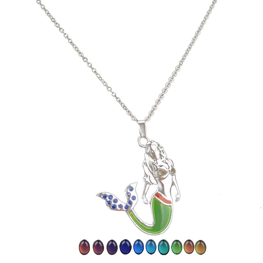 Moda deniz kızı mermaid değişen renk kolye paslanmaz çelik termokromik sevgilisi sevgililer Günü kolye hediyeler toptan ile zincir