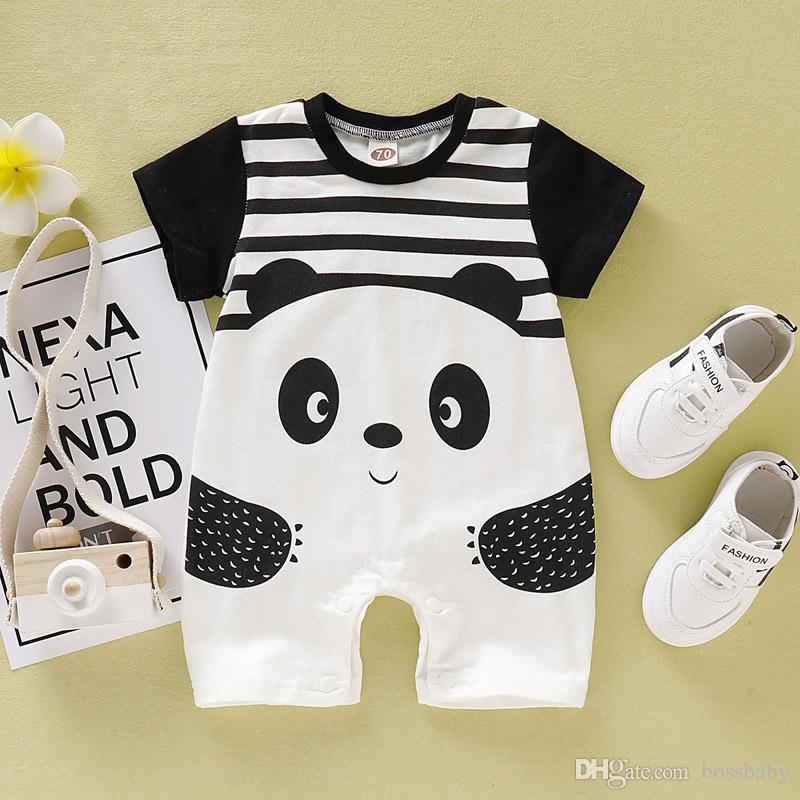 CDHL99 Cartoon Panda5 Newborn Infant Baby Short Sleeve Jumpsuit Outfit 0-24M