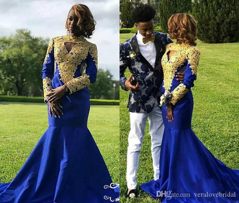 2018 Royal Blue Mermaid Prom Dresses With Gold Applique Satin Sweep Train Long Sleeve Formal Dress Party Evening Wear Fat Evening Gowns