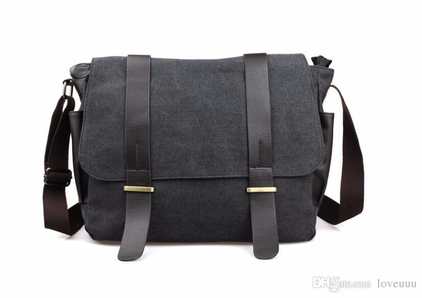 "Vintage Men/'s Leather Canvas Messenger Shoulder Bag 14/"" Laptop Case Satchel Case"