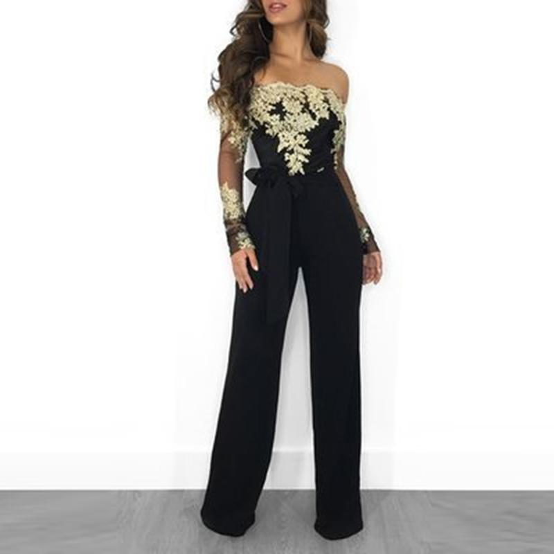 Summer Jumpsuit Off Shoulder Sexy Rompers Womens Jumpsuit 2019 Office Work Wear Elegant Party Overalls For Women