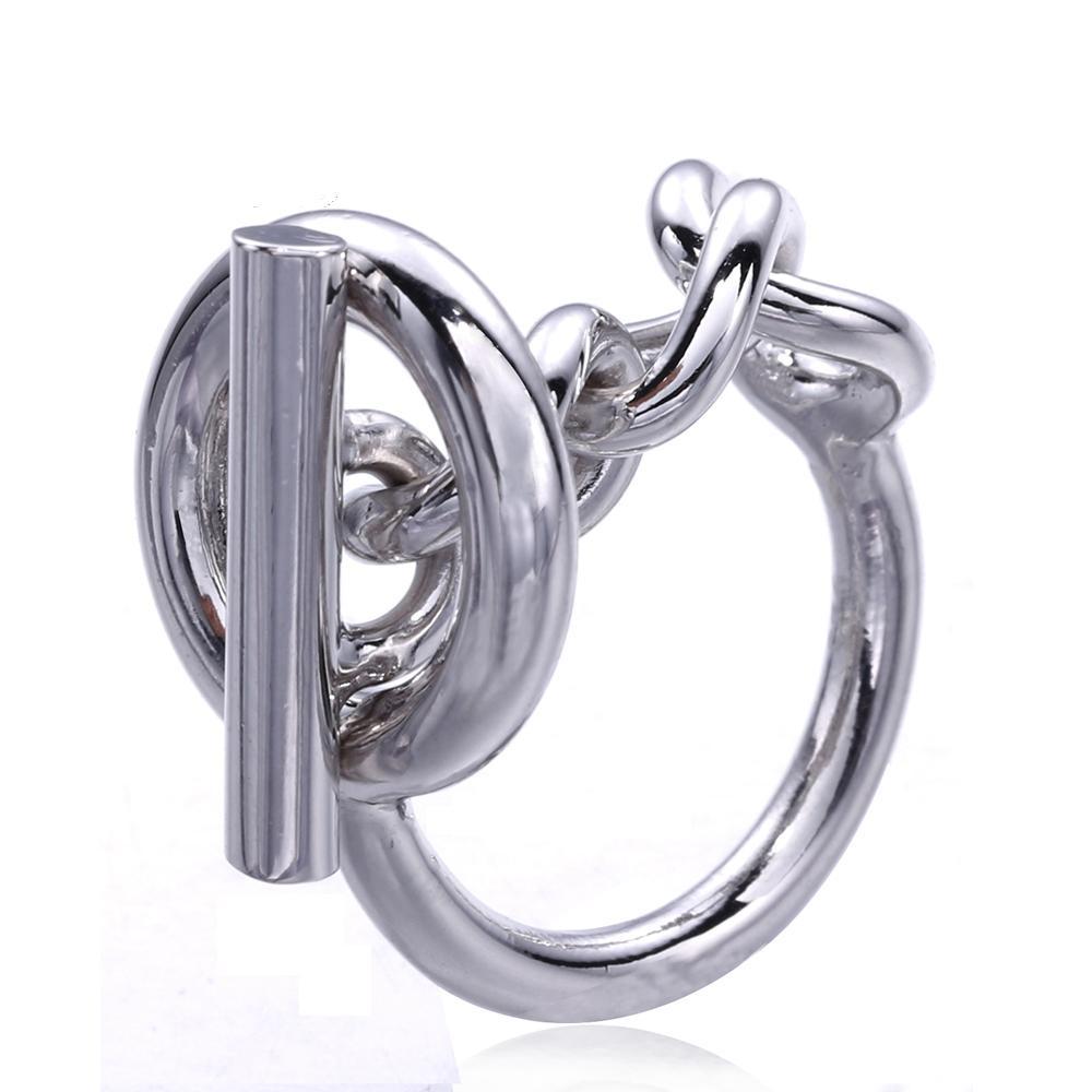 Kadınlar Için 925 Ayar Gümüş Halat Zincir Yüzük Hoop Kilidi Ile Kadınlar Için Fransız Popüler Toka Yüzük Gümüş Takı Yapımı