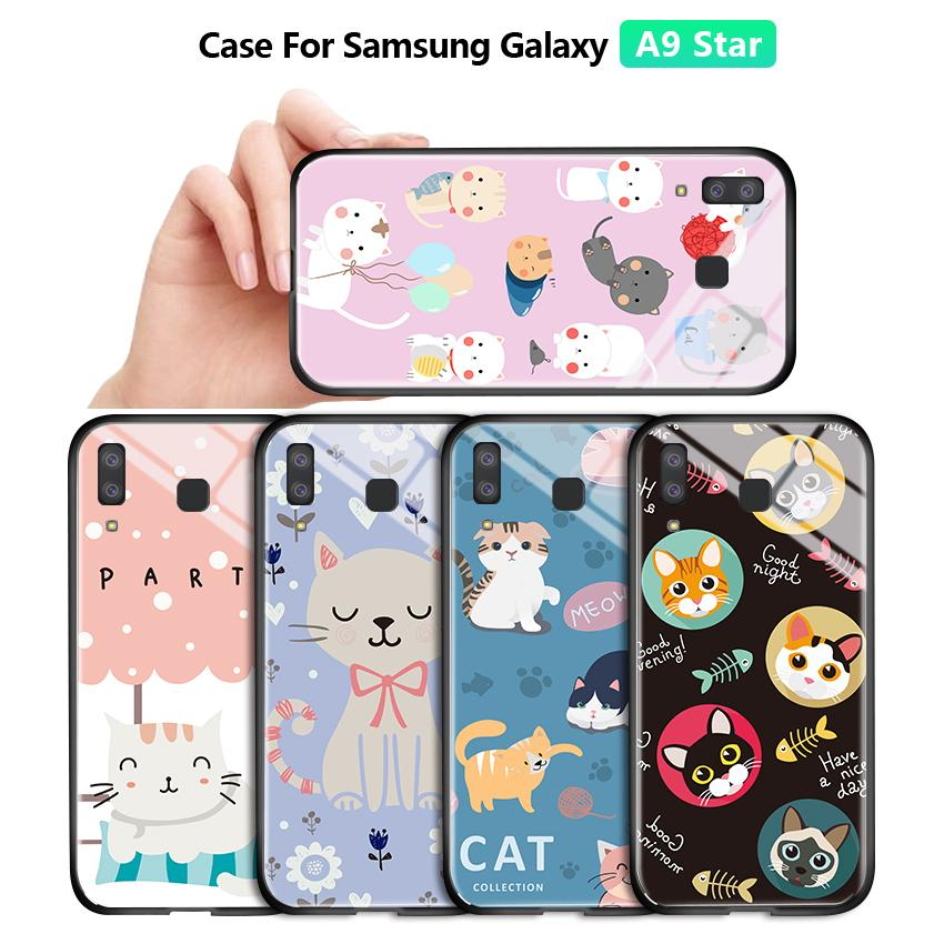 For Samsung A9 Star A8 Star Luxury Lovely Girls Cartoon Cat Pet Glossy Casing Phone Case Shockproof Tempered Glass Back Cover