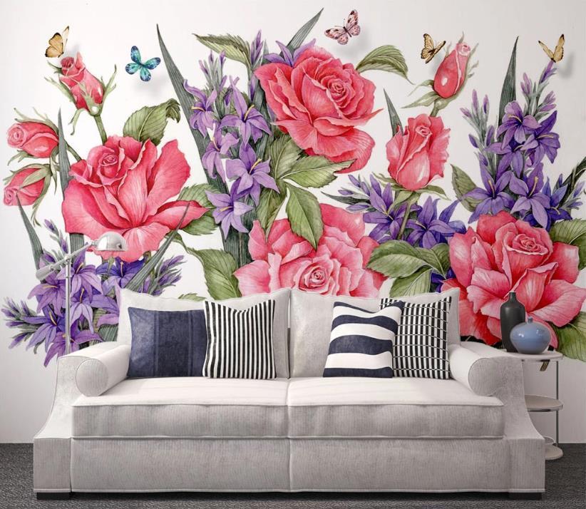 пользовательских 3D обои Розы цветок Papel де Parede 3d Гостиной спальня 3D настенного оформление фона стены живописи