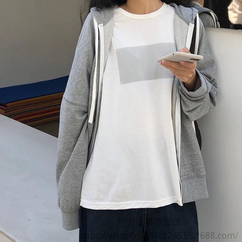 à manches courtes Un simple T-shirt pull femme 2020 col rond imprimé chemise de base pull-over en vrac