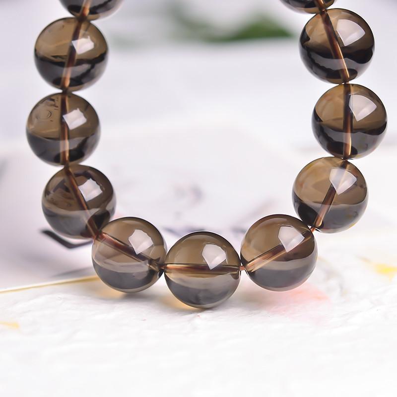 Pulsera de piedras preciosas de cuarzo ahumado 10 mm