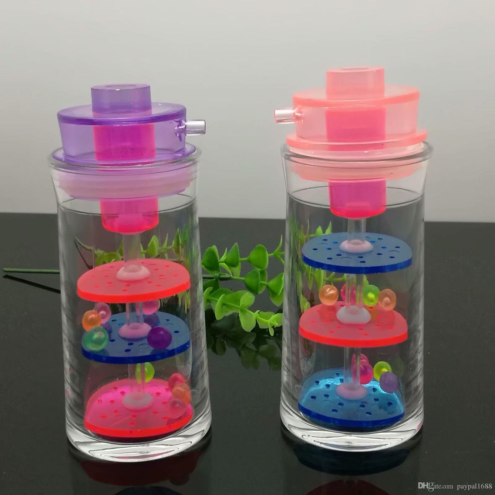 Acryl Dreischichtfilter Schnupftabakflasche Glasbongs Ölbrenner Glas Wasser-Rohre Bohrinseln Raucher Kostenlose