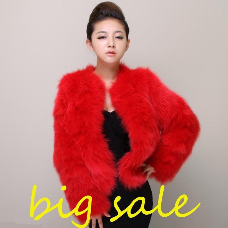 Плюс размер 4XL 5XL Winter Сексуальные женщины Норка Кролик пальто Дамы Розовый Белый Поддельный Fox куртки Меховые болеро Short красный пальто Y191128 LY191225 s