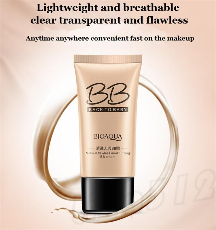 BIOAOUA Flawless BB Cream Moisturizing natural conceals naked makeup Conceals and repair Foundation cream T9F005