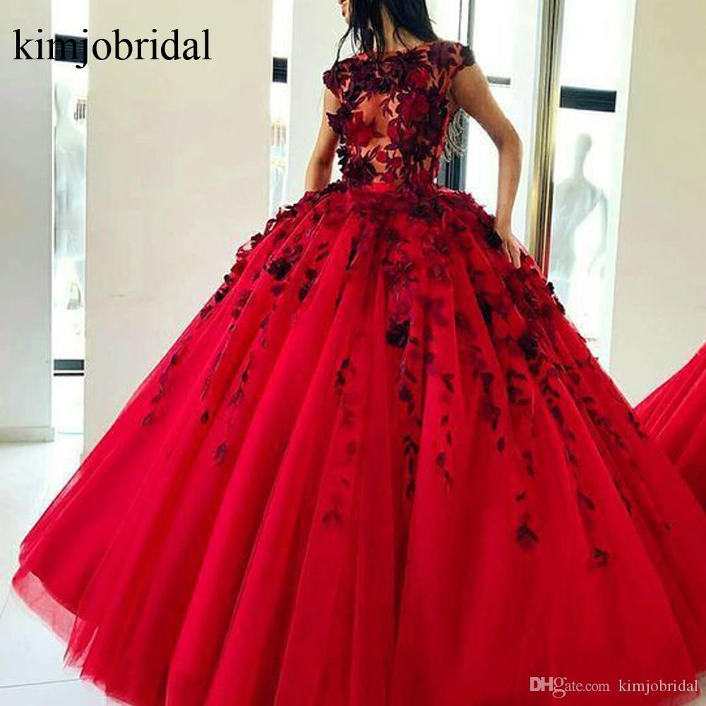 Красный Пром платья 2019 цветы бальное платье тюль длина пола вечерние платья Vestidos де Фиеста вечерние платья