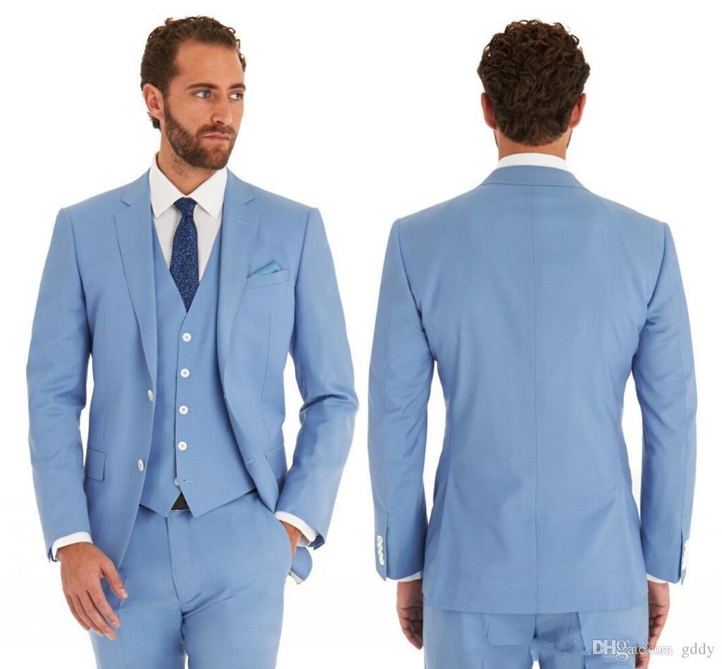 Sky Blue Groom Tuxedos Notch Lapel Slim Fit Groomsman Wedding Tuxedos Men Prom Party Jacket Blazer 3 Piece Suit (Jacket + Pants + Tie + Vest)