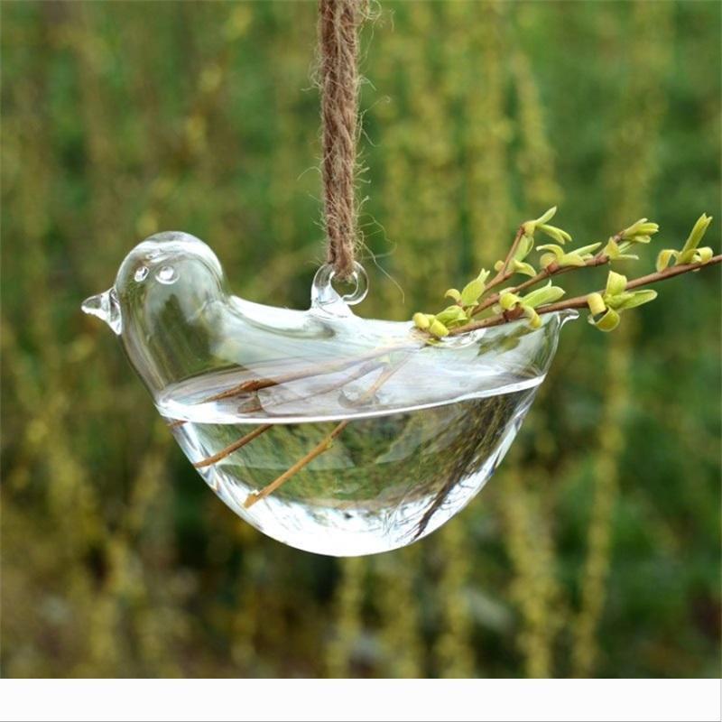 Özgünlük Kuş Shape Vazo Topraksız Süspansiyon Şeffaf Saksı Cam Asma Su Tesisi Saksı Ev Dekorasyonu Creative'in 8cs jj