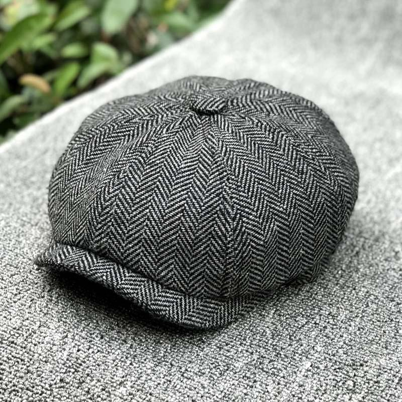 New Beret Men Women Wool Tweed Hats Newsboy Caps Gatsby Octagonal Cap Wool Vintage British hat Accessories