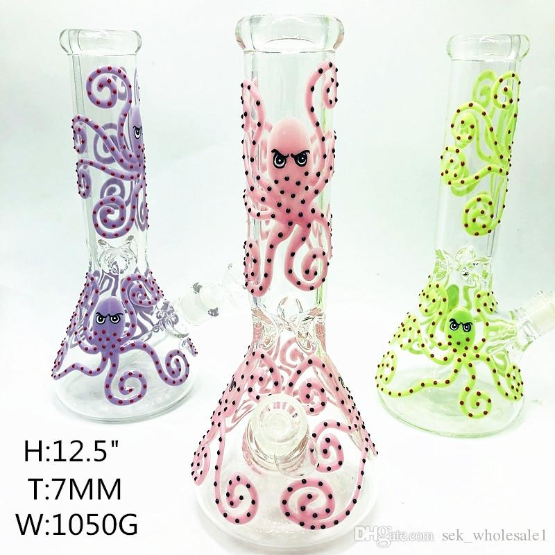 13 inch 7mm thick beaker bong tall bong hand painting octopus glass water pipe Dab Rigs green pink purple bong with elephant joint