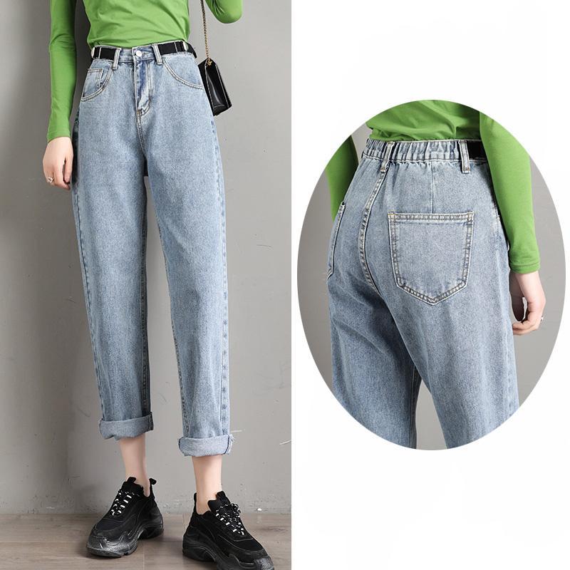 Compre Corea Del Novio Highwaist Jeans Mama De La Mujer Mujeres Jean Del Dril De Algodon De Senoras Para Mujer Pantalones Para Slouchy Flojo Azul Femenino De Los Pantalones De Las Mujeres