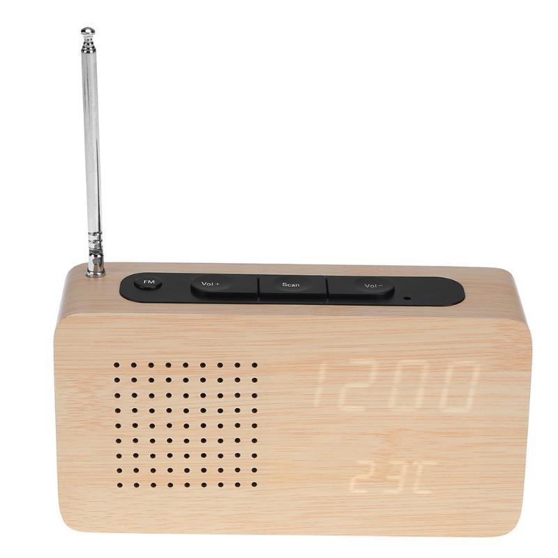 HLZS-FM Radio LED bois Réveil Affichage LED électronique Horloge de bureau
