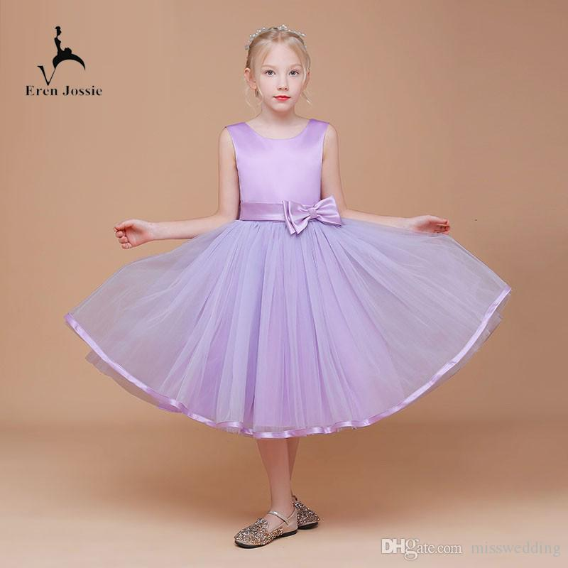Eren Jossie Wholesale Price Tea Length Little Child Party Dress With Bow Front and Back Free Custom Made