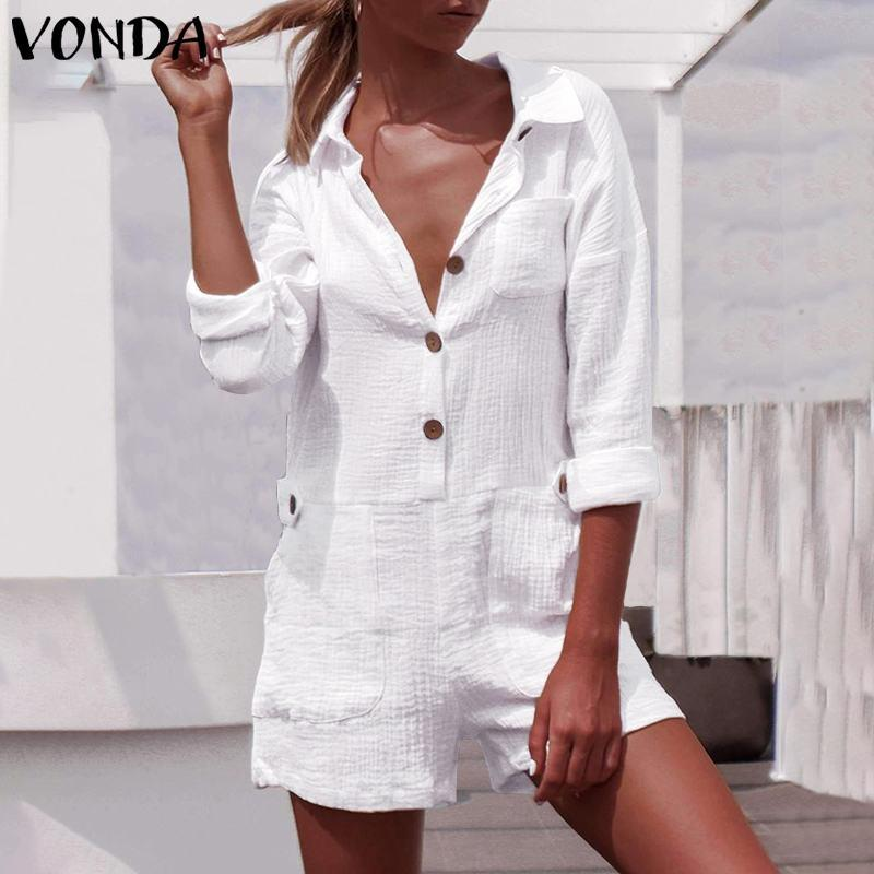 Sexy Overalls Summer Rompers Womens Jumpsuits Plus Size Sexy Shorts Party Playsuits VONDA Ladies Casual Wide Leg Pants