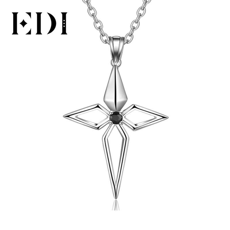 ЭОД Подлинная Cross Natural Black Sapphire Gemstone стерлингового серебра 925 Женский кулон