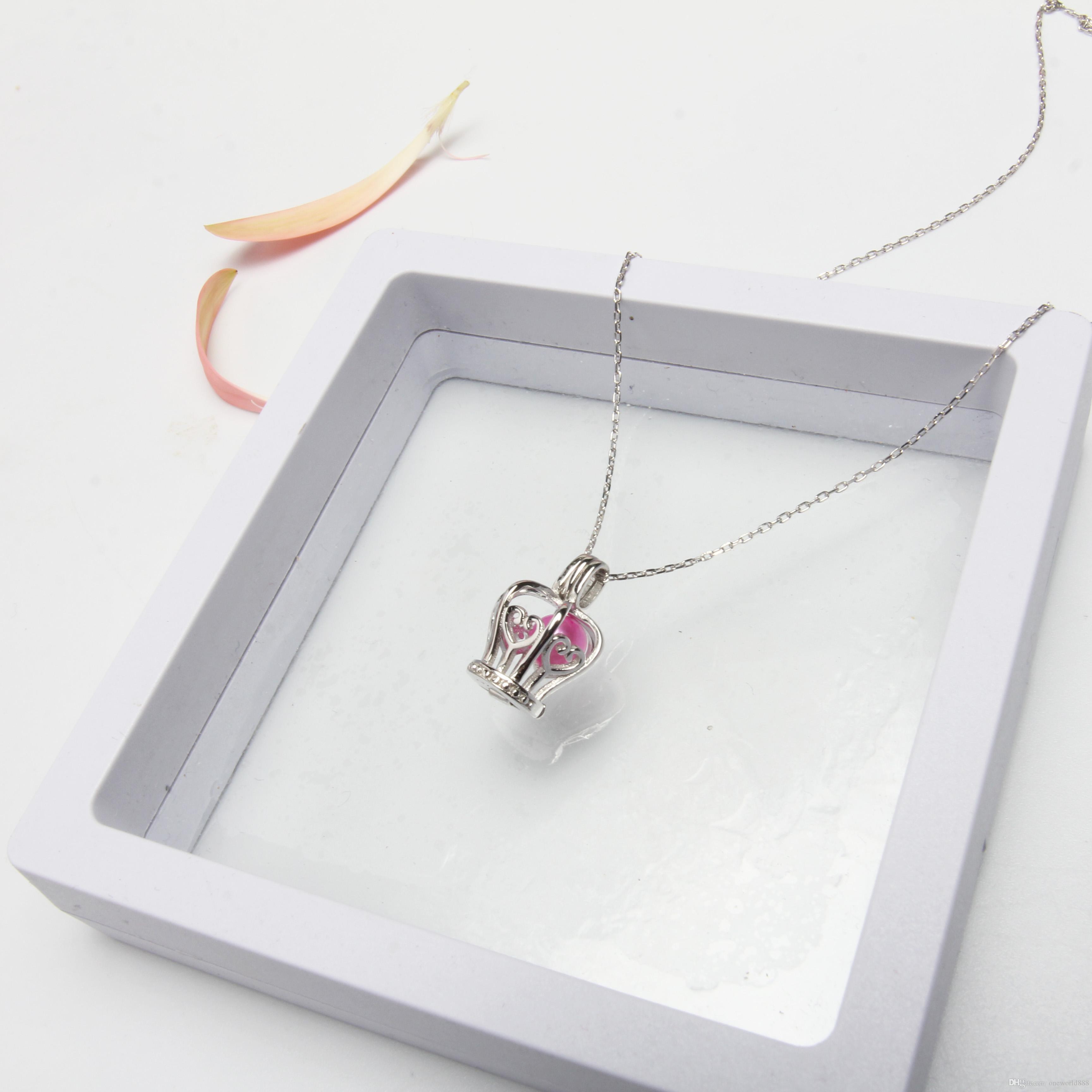 Медальоны ожерелье Корона форма стерлингового серебра 925 Жемчужина клетка кулон ювелирные изделия для подарок на День Рождения
