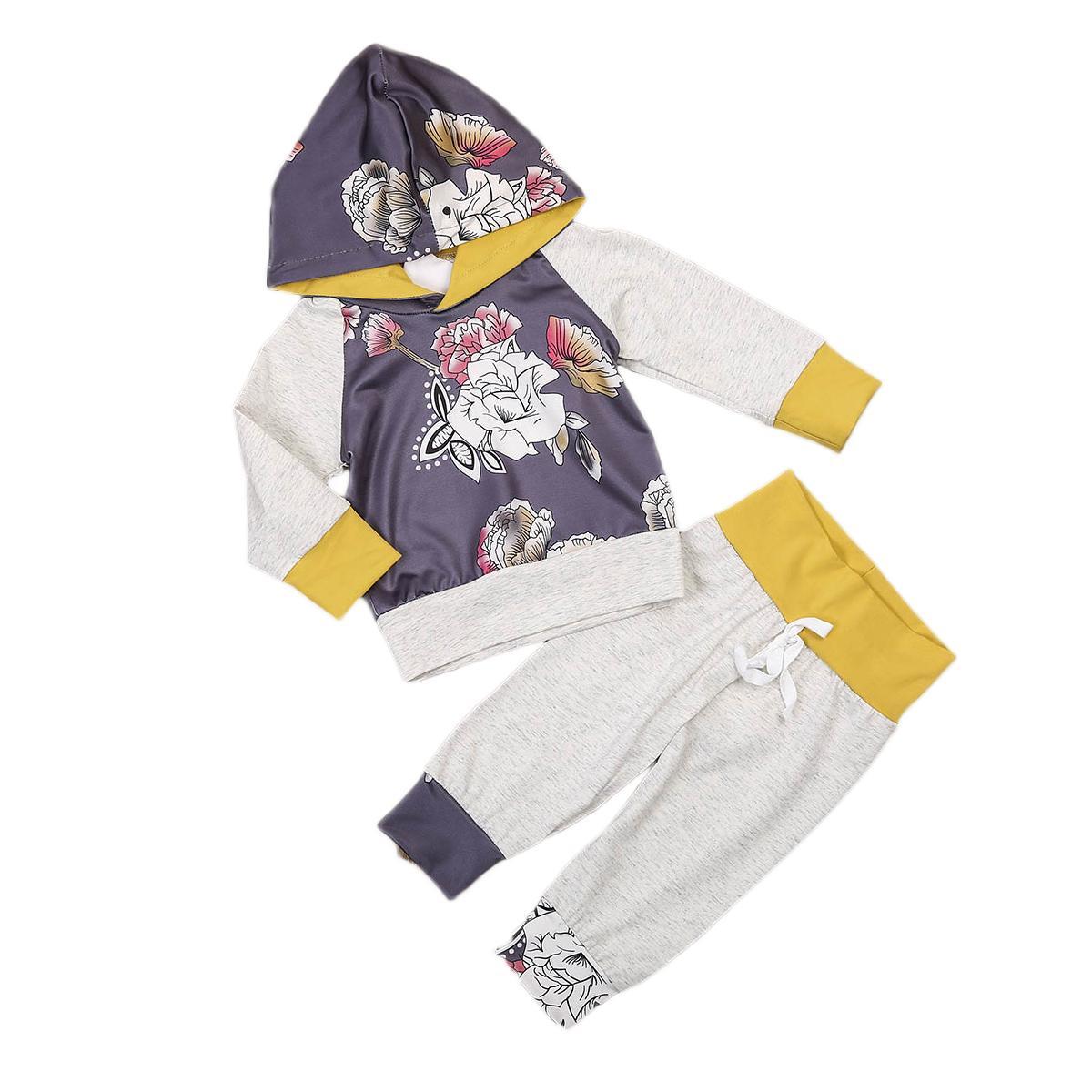 Niño Niños Niños bebés Spring Girl ropa del otoño de la impresión floral de la manga larga con capucha púrpura de la correa larga de color gris pantalones fijaron el equipo de moda