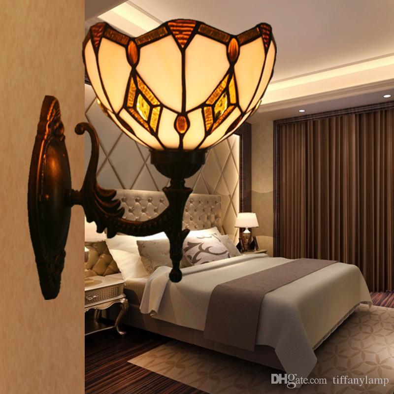Tiffany Corredor Luzes da parede Nordic Lâmpada de parede moderna Espelho Stair Bedroom Bathroom Decor Luminárias cabeceira vitral arandela