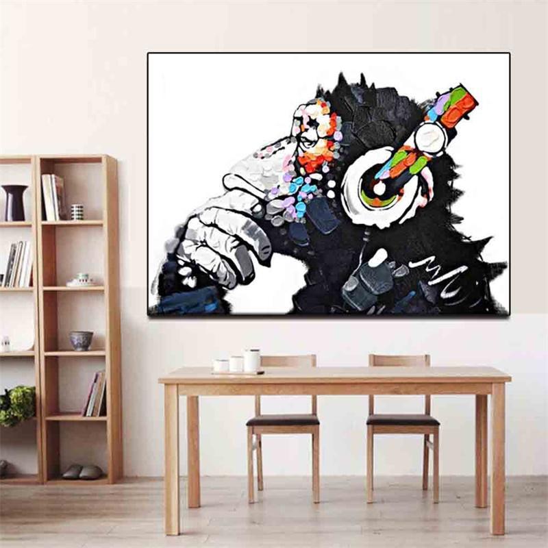 Headphone Macaco Music for Living Room Decor Art Home Decor pintado à mão HD Imprimir pintura a óleo sobre tela Wall Art Canvas Pictures 200117