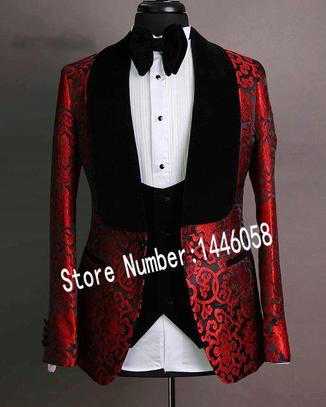 Красивый одна кнопка жених Шаль отворот жених смокинги мужские свадебное платье человек куртка блейзер выпускной ужин костюмы (куртка + брюки + галстук + жилет) W02