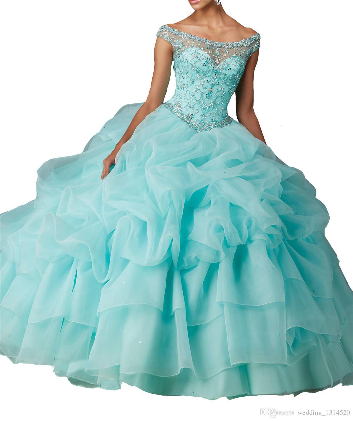 New Sweet Girls 15 16 Ball Gowns Women Quinceanera Dresses Floor Length Beaded Off Shoulder Ruffles Organza cheap drop shipping