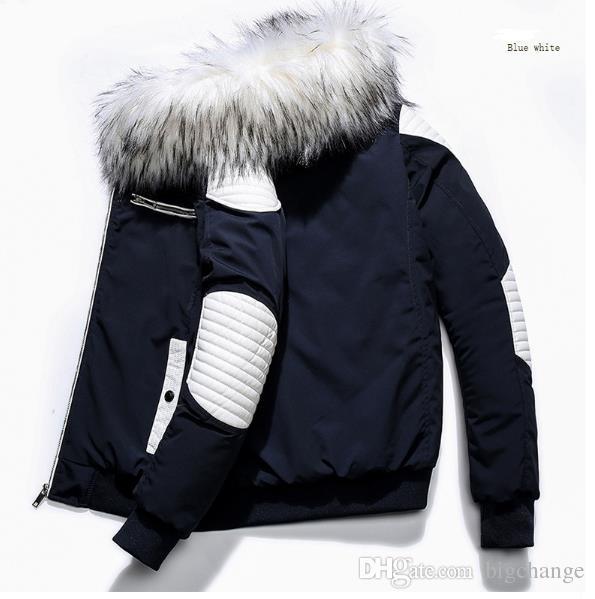 새로운 패션 모피 칼라 남성 패널로 코튼 자켓 높은 품질 긴 섹션 두꺼운 남성 코트 겨울 후드 모피 칼라 코트 3 색 M-2XL