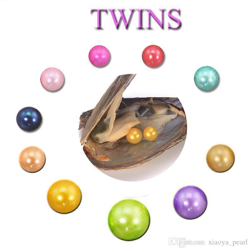 Ücretsiz nakliye Toptan yeni DIY 6-7mm yuvarlak Oyster Twins İnci 25 mix renk Tatlısu Doğal inci Hediye Gevşek süslemeler Vakum Paketleme