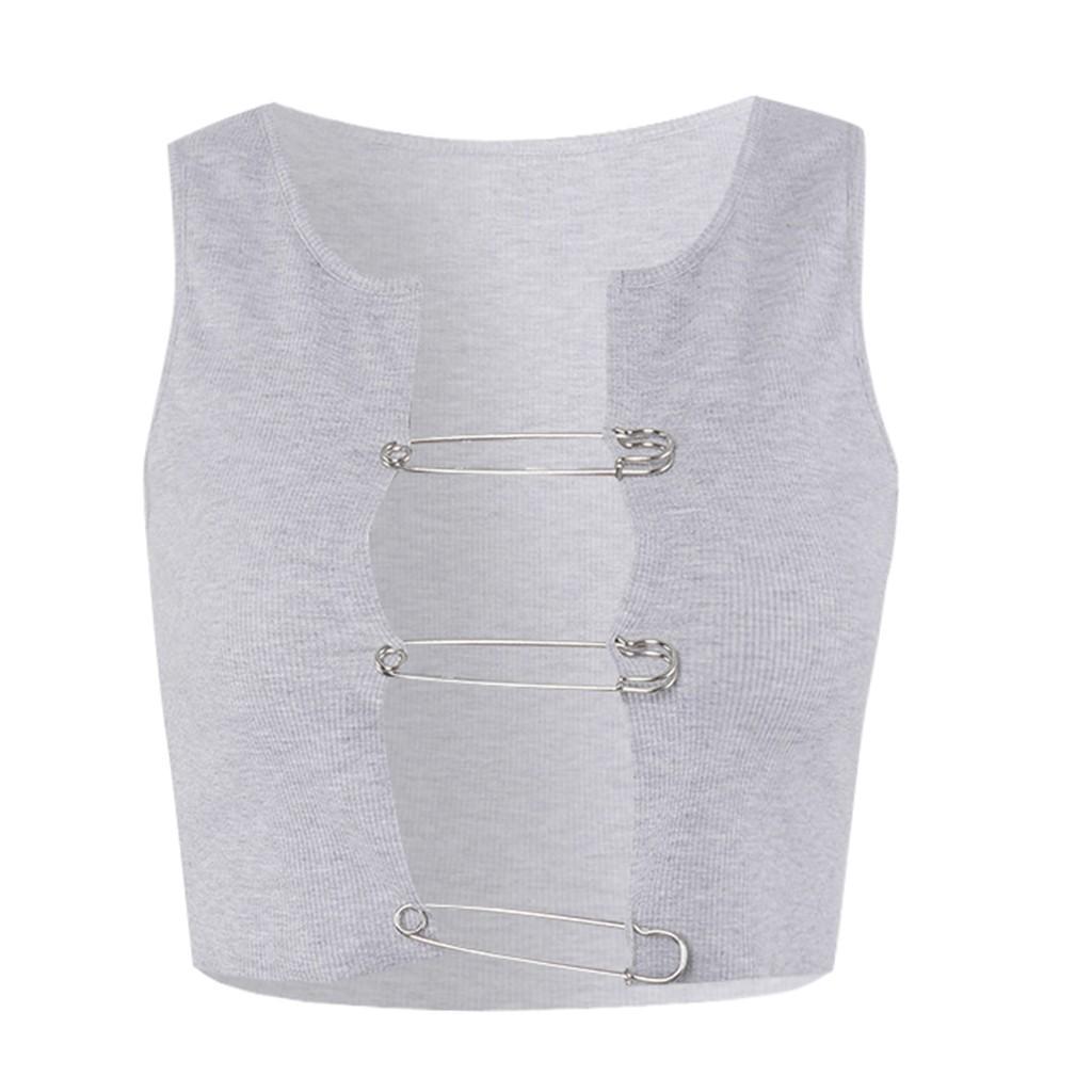 Mulher aberto pescoço camisetas Sexy encabeça mulheres 2020 camiseta mulheres verão estética encabeça Cinza Cardigan Pin Tanque Vest mujer Camisetas nova