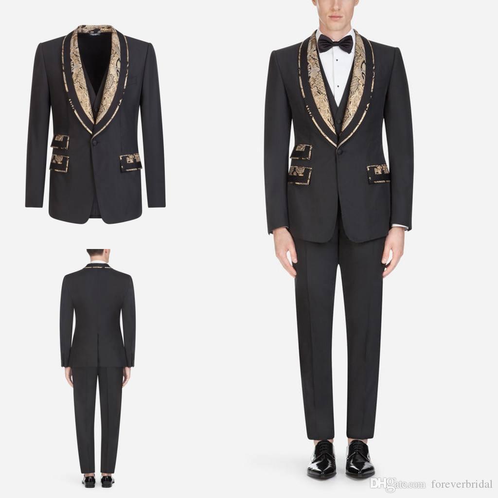 Design elegante Três Peças (Blazer + Calça + Colete) Homens De Negócios Ternos Com Xale Lapela Um Botão Do Casamento Do Noivo Smoking Para Venda
