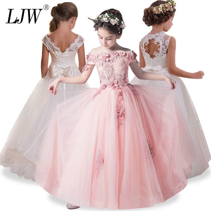 2019 Tulle Lace Infant Kleinkind Pageant White Flower Girl Hochzeiten und Party Erstkommunion Kleider für Mädchen J190514