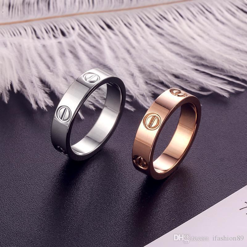Классический роскошный дизайнер ювелирных женщин кольца с кристаллом мужских золотыми кольца из нержавеющей стали 1 любови браслет винт браслет Bracciali