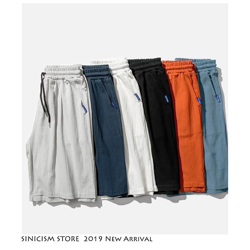 Sinicism Conservare Men Oversize Streetwear Harajuku Shorts 2020 Solid 6 colori Mens di stile cinese bicchierini del bordo di casual lunghezza ginocchio