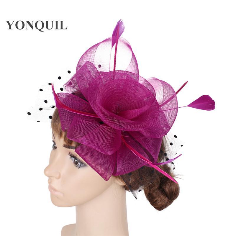 Nuovi colori in nylon fascinators cappelli fiore donne elegante piuma accessori per capelli capelli combrs partito fedora copricapo MYQ039