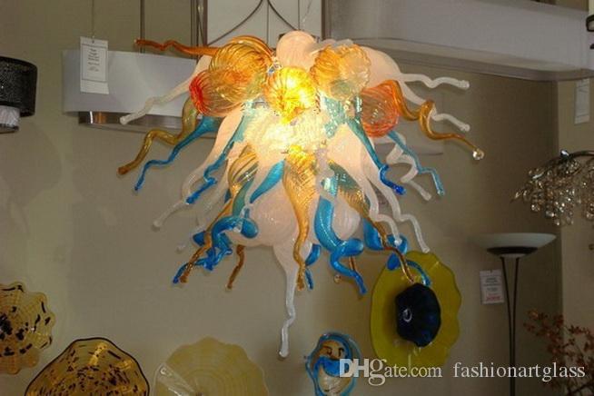 Завод Современная Рука выдувное стекло Лестничные Люстры LED Источник света Галерея Crystal Design Подвесной Подвесной светильник
