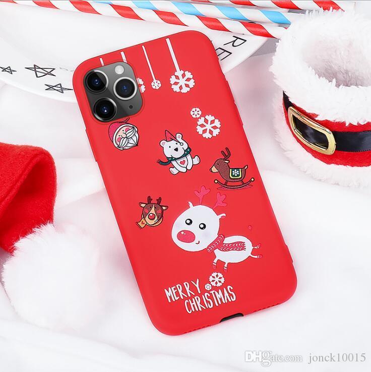 iphone 11 Pro máximo de Navidad pintado del iPhone XR silicona roja caso desbloqueado teléfonos celulares de telefonía móvil