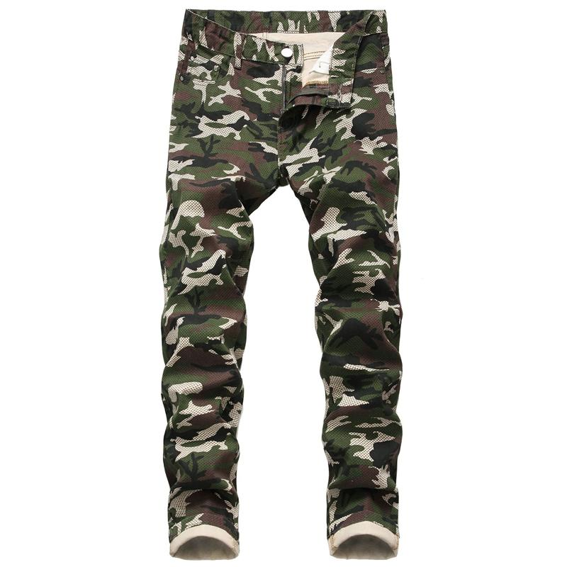 Spring Mens Camouflage Jeans Personality Printed Casual Male Pencil Pants Zipper Fly Fashion Boys Trousers
