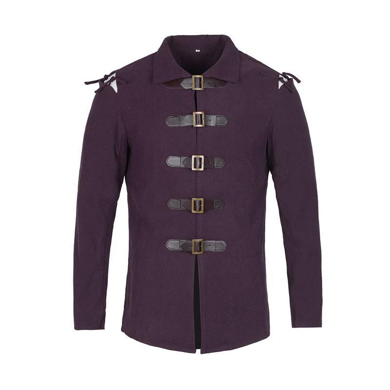 Gothic Trench Coat Men Vintage Jacket Medieval Cosplay Warrior Solid Knight Coat Men Leather Buckle Tops Jacket Costume Clothes