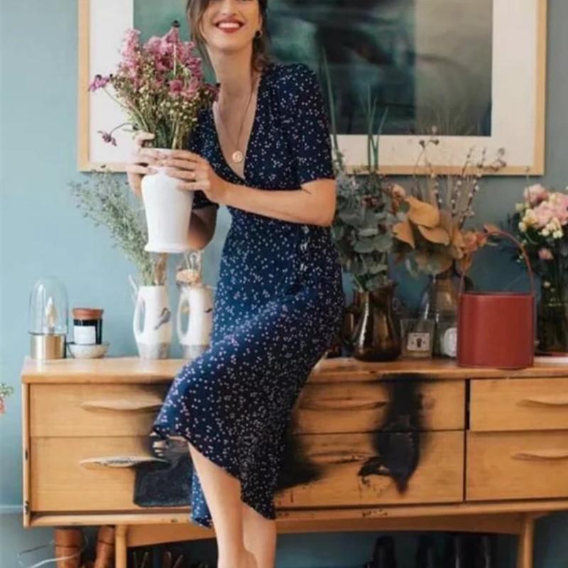 الأزهار المطبوعة الصيف الاعوجاج الخامس الرقبة مثير خمر المرأة الشاي الدانتيل متابعة bodycon الإناث شاطئ اللباس روجيه CWD0044-5 Y200418