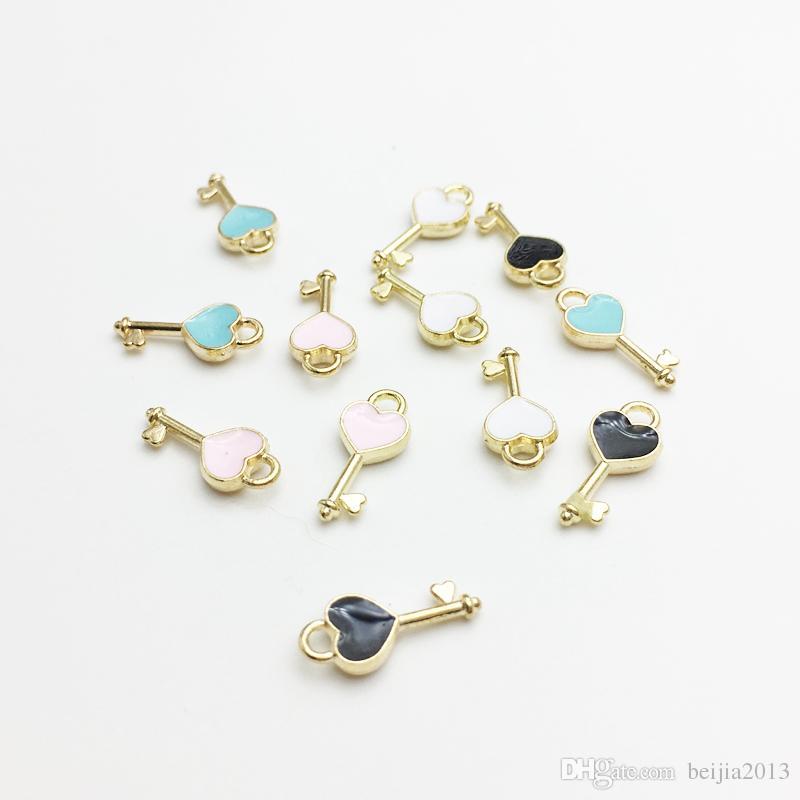 Del cuore di figura di fascini di chiave dello smalto Pendente carosello DIY Bracciale risultati della collana di galleggiamento fascini monili che fanno commercio all'ingrosso 60pcs / lot