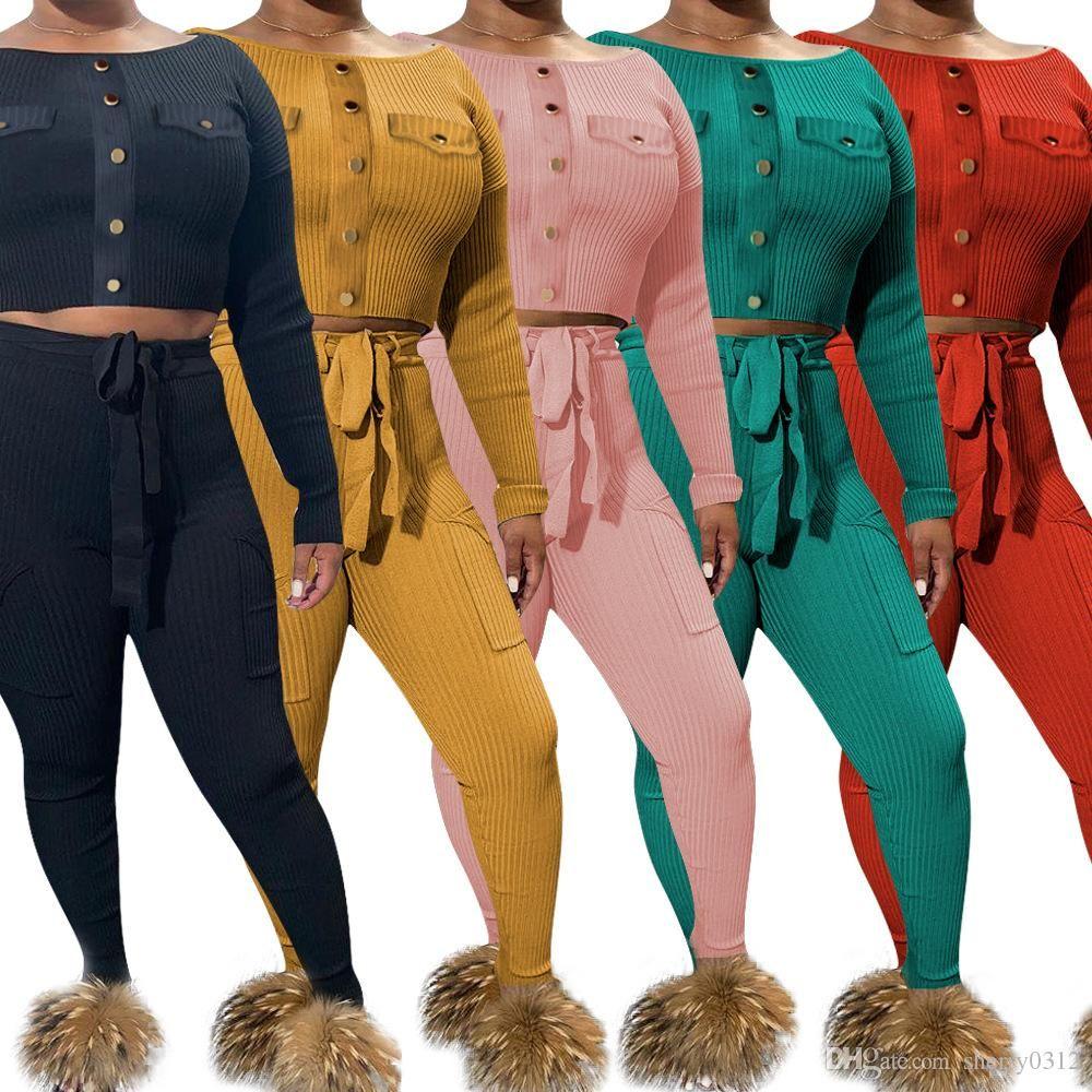 Hisimple 2019 Autumn Mulheres malha Rib Sexy 2 Piece Set Top Curto e lápis calças Conjuntos Outfit Bodycon Magro Clube Treino Matching