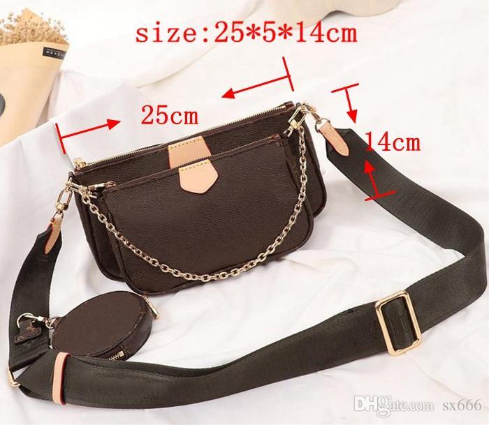 Louis Vuitton 3pcs / set klassische Designer Messenger Schulter Frau echte Leder-Handtasche Dame Totes Handtasche Tasche Gibt Designer Brieftasche weg