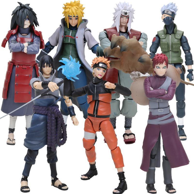 14 cm Naruto Uchiha Sasuke Itachi Namikaze Minato Hatake Kakashi Gaara Jiraiya PVC Action Figure Jouets Modèle Y200421