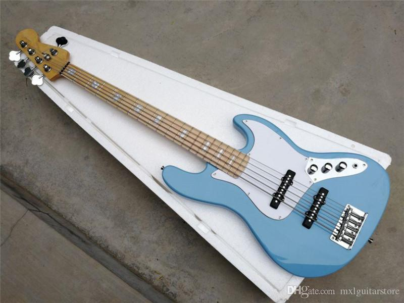 Factory custom 4 Strings Blue body Electric Bass Guitar with Black Pickguard,Maple Fingerboard,Write pearl inlay, offer Customized